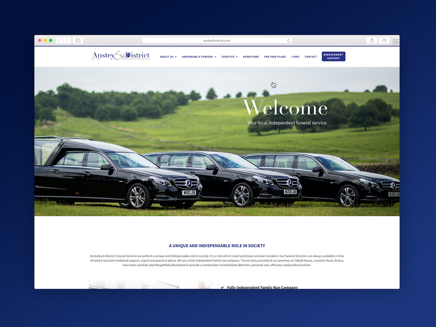 Anstey & District Funeral Services Web Design